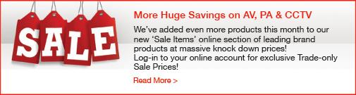 Huge savings on AV, PA & CCTV