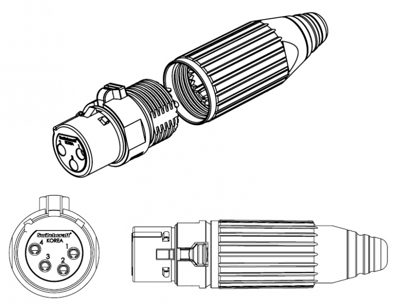 cie av solutions switchcraft 4 pin female xlr connector