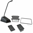 Through-glass Speech Transfer System, Flush-mount, Induction Loop - Black