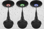 Tri-element Ceiling Microphone Array with programmable RGB LED light ring. Dante / AES67. Black